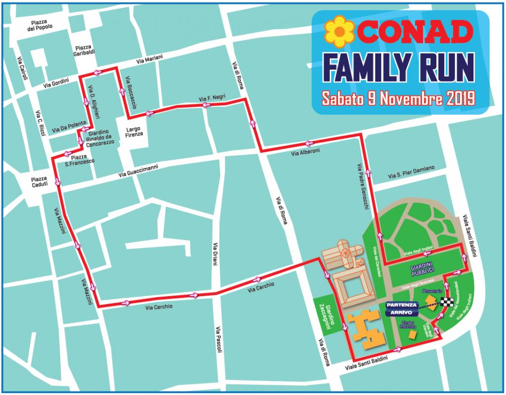 Трасса забега на 2 км в рамках Равеннского марафона (Maratona di Ravenna Città d'Arte) 2019