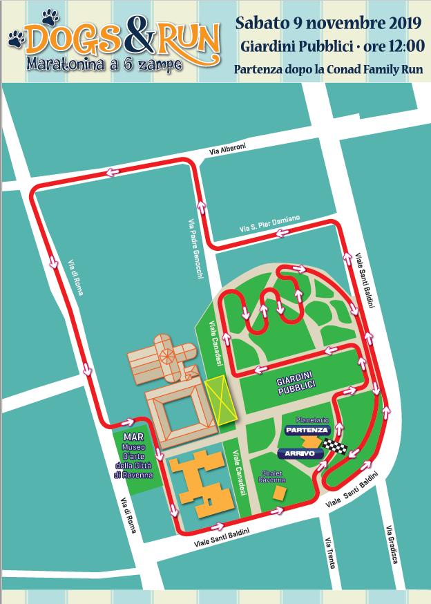 Трасса забега с собаками в рамках Равеннского марафона (Maratona di Ravenna Città d'Arte) 2019