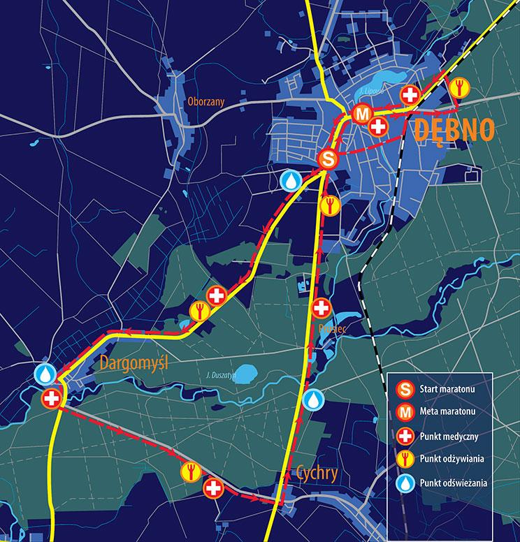 Трасса Дембненского марафона (Maraton Dębno) 2020
