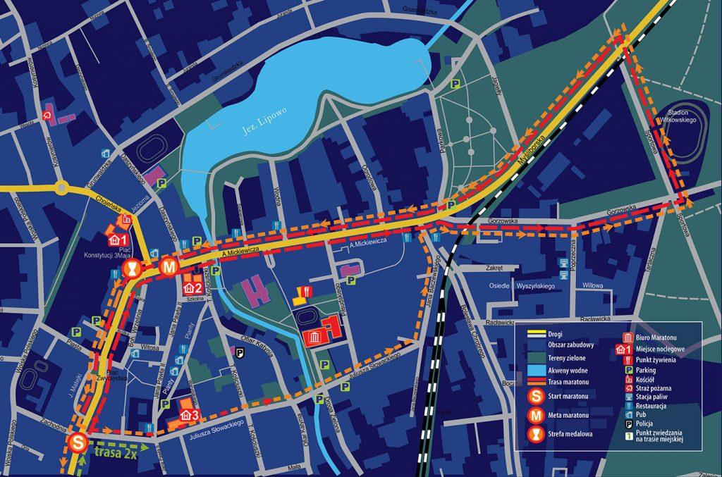 Зона старта и финиша Дембненского марафона (Maraton Dębno) 2020