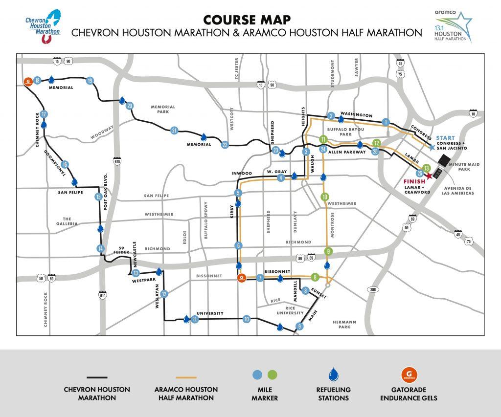 Course of the Houston Marathon (Chevron Houston Marathon) and Half Marathon (Aramco Houston Half Marathon) 2020