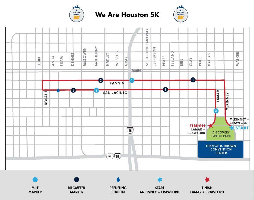 Course of the 5km Race, Houston Marathon (Chevron Houston Marathon) 2020