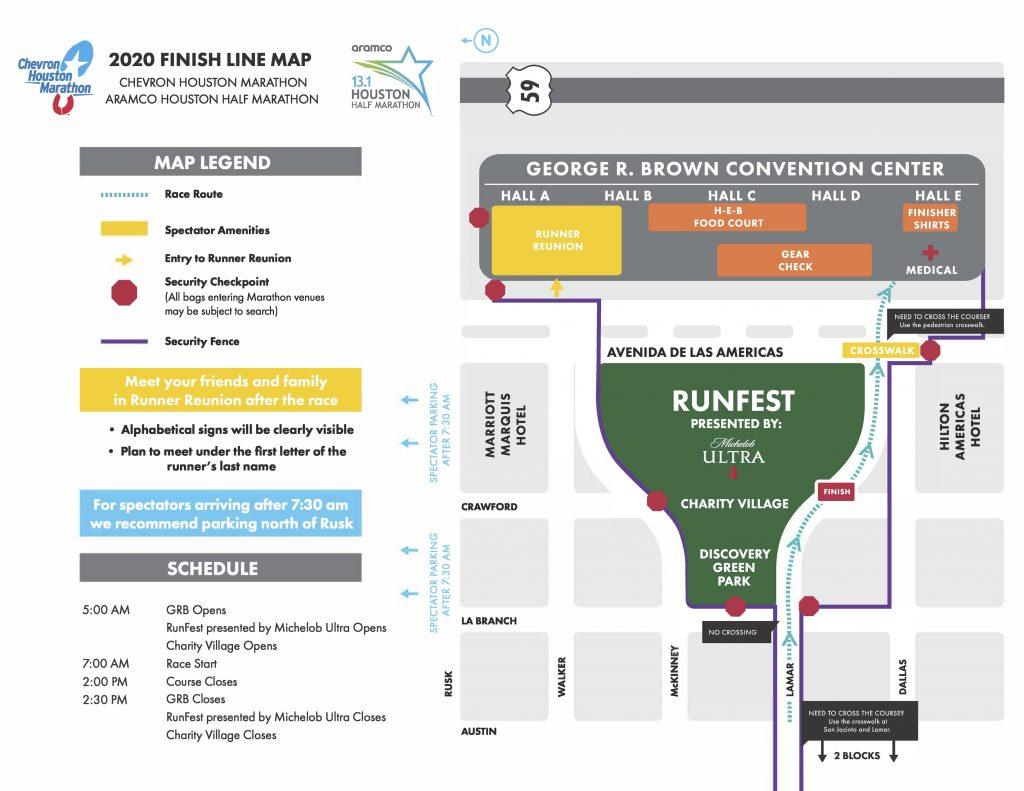Finish zone map, Houston Marathon (Chevron Houston Marathon) and Half Marathon (Aramco Houston Half Marathon) 2020