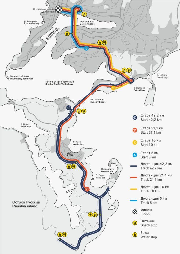 Трасса забегов Владивостокского марафона (Международный Владивостокский марафон, Galaxy Vladivostok Marathon) 2021