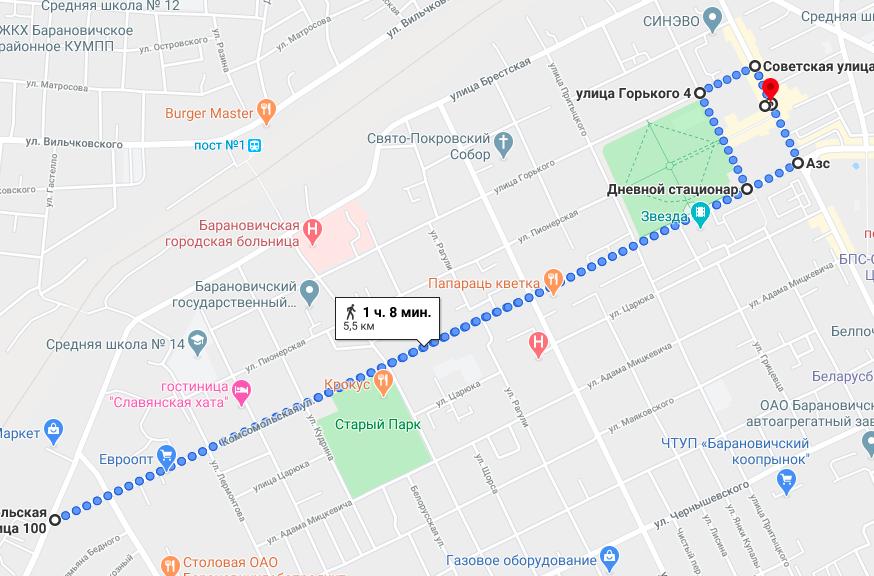 Трасса Барановичского полумарафона (BaRUNovichy RUN) 2020