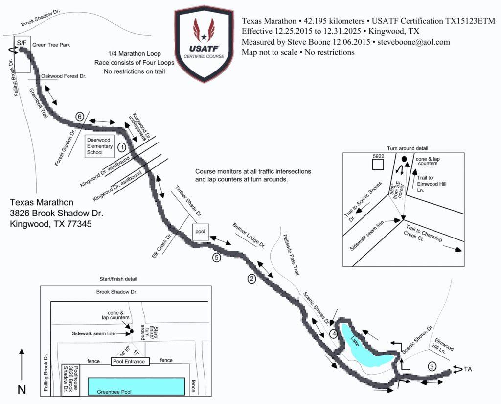 Course of the Texas Marathon (Sawblade.com Texas Marathon) and Half Marathon 2021