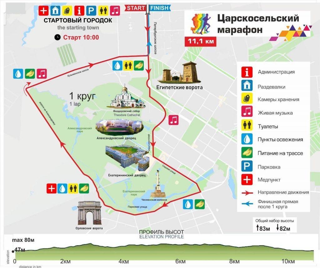Трасса забега на 11,1 км в рамках Царскосельского марафона (Царскосельский Марафон) 2020