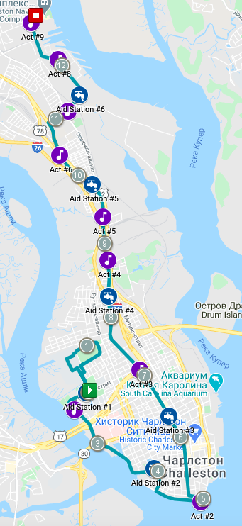 Course of the Charleston Half Marathon 2020