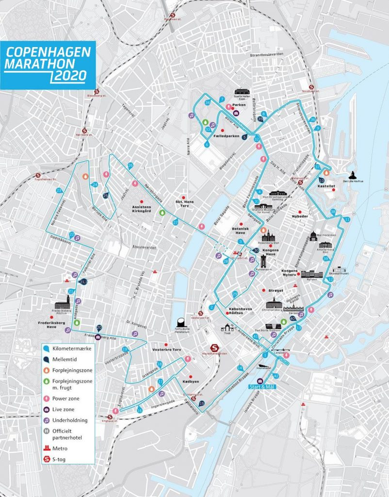 Course of the Copenhagen Marathon 2020