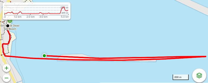 Course of the 3.1mi/5km race, Dead Sea Marathon by Veridis Israel 2021