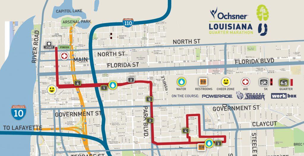 Course of the Quarter Marathon race, Louisiana Marathon 2021