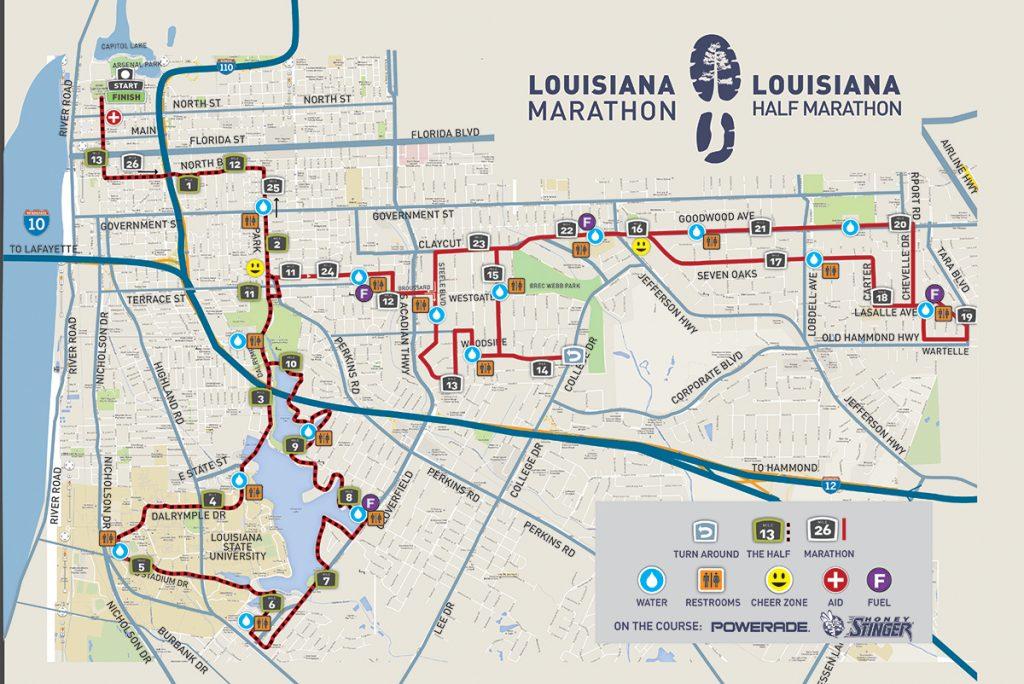 Course of the Louisiana Marathon and Half Marathon 2021