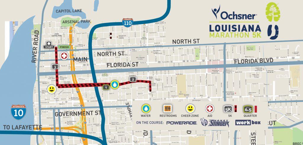 Course of the 5km Race, Louisiana Marathon 2021