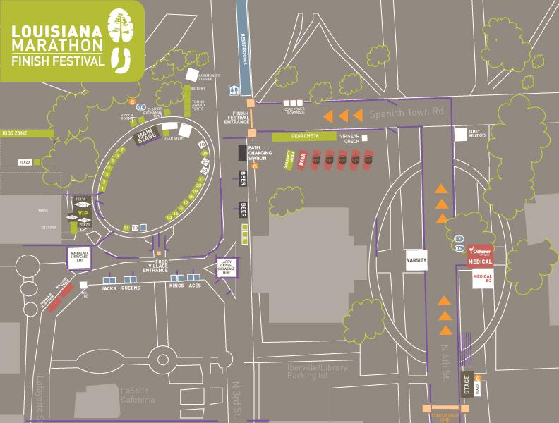 Start and finish zone, Louisiana Marathon 2021