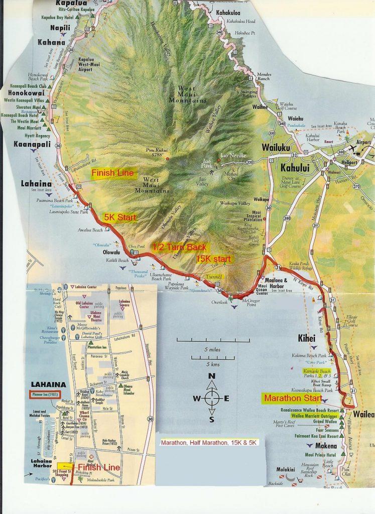 Course of the Maui Oceanfront Marathon and Half Marathon 2021