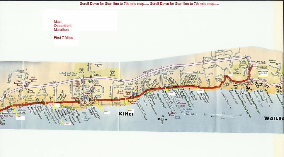 Start and first 7 miles of the Maui Oceanfront Marathon 2021 course