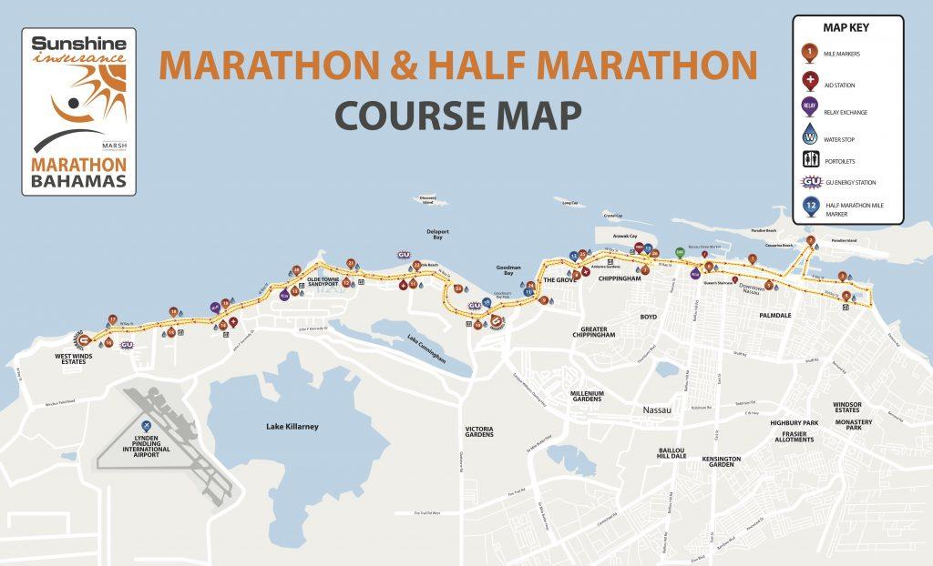 Course of the Bahamas Marathon and Half Marathon 2021