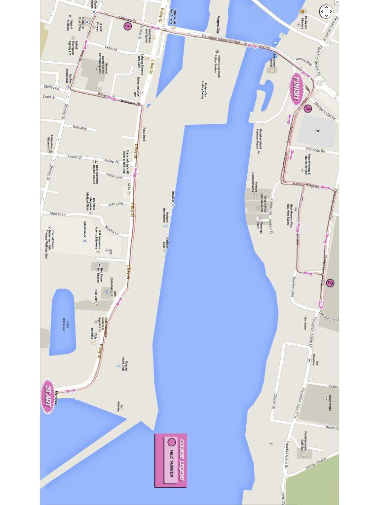 Course of the 5km Race, Marathon Bahamas 2021