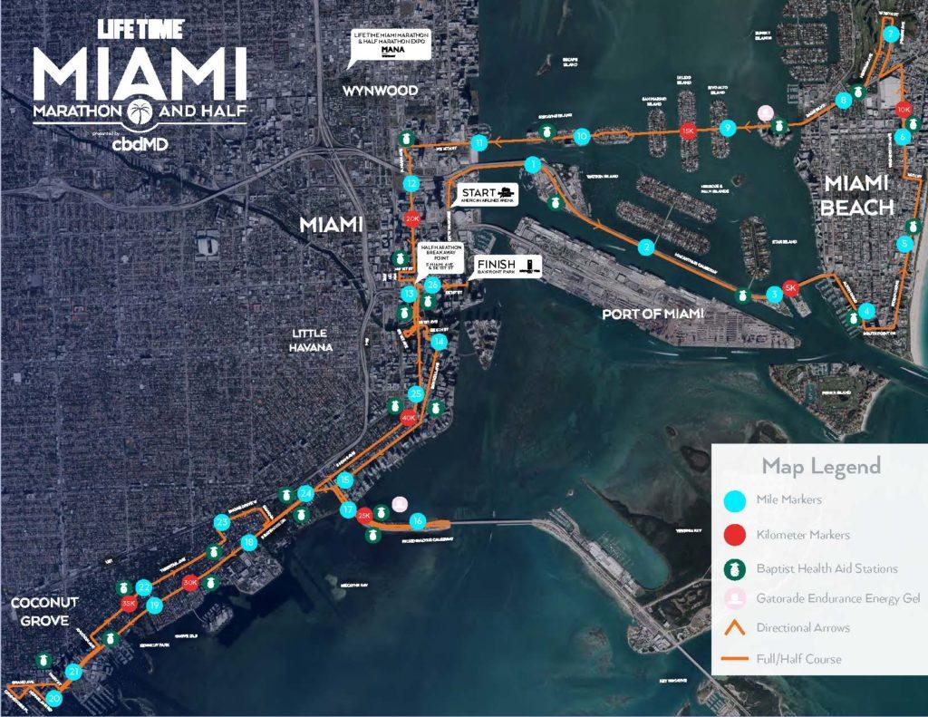 Course of the Miami Marathon and Half Marathon 2021