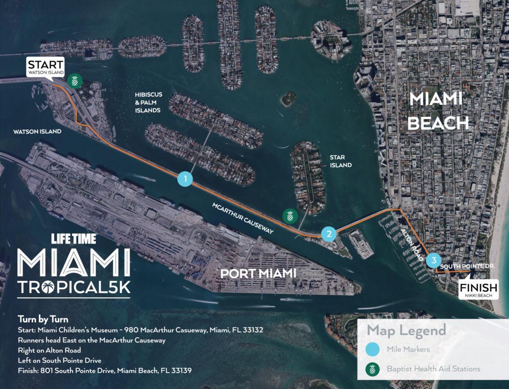 Course of the 5km Race, Miami Marathon 2021