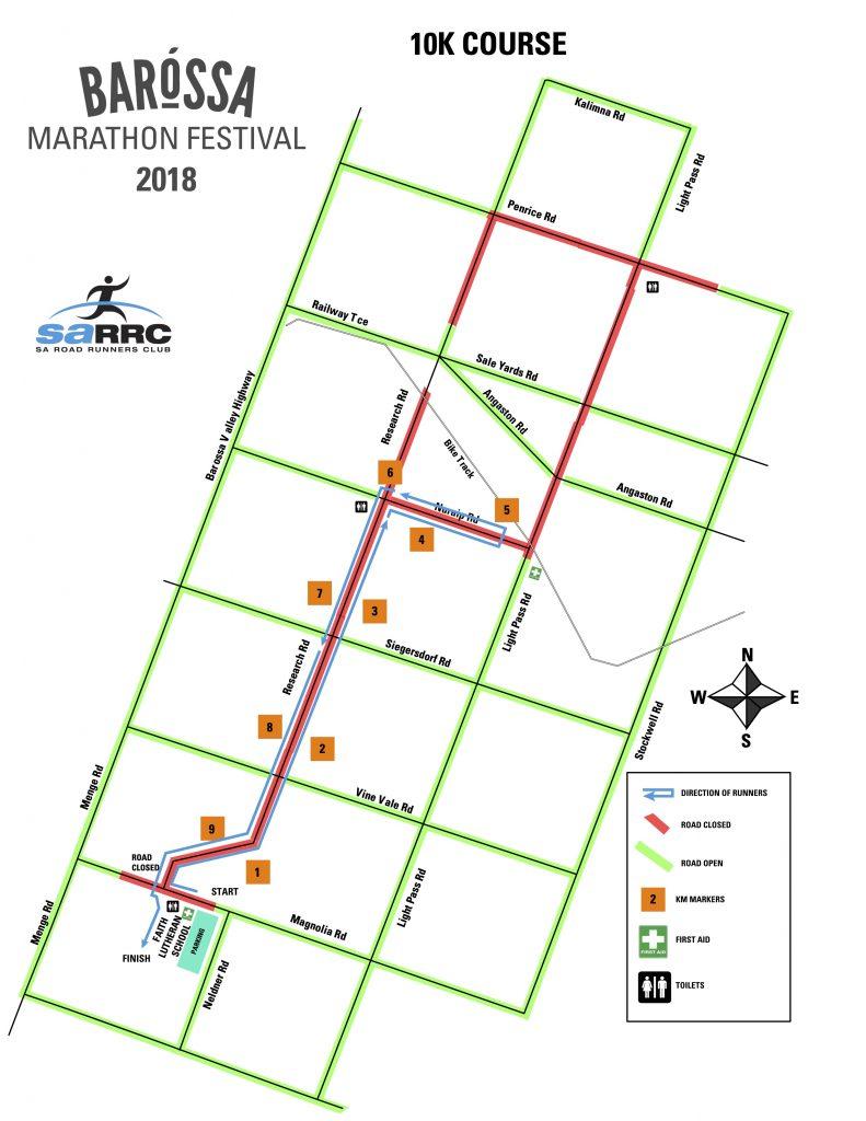 Course of the 10km race, Barossa Marathon Festival 2018