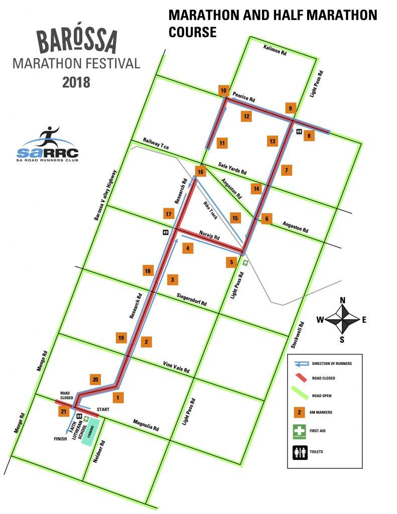 Course of the Barossa Marathon (Barossa Marathon Festival) and Half Marathon 2018: 2 loops for the marathon, 1 loop for the half marathon