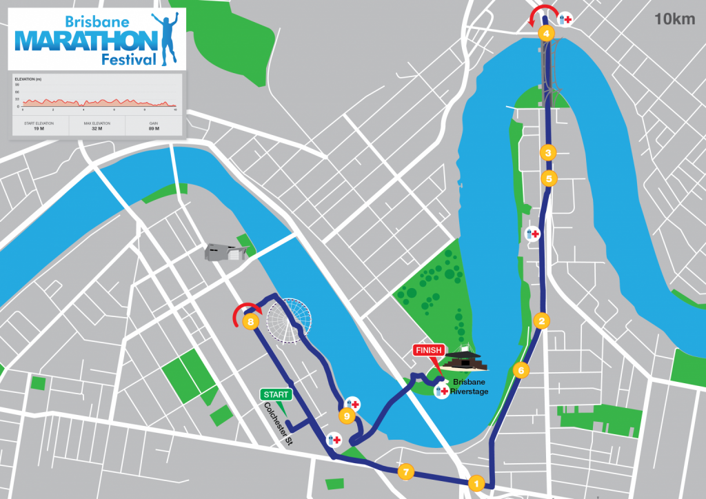 Course of the 10km race, Brisbane Marathon Festival 2021