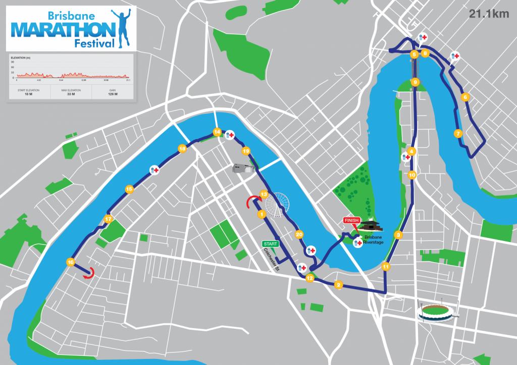 Course of the Brisbane Half Marathon (BHP Half Marathon) 2021 with elevation map
