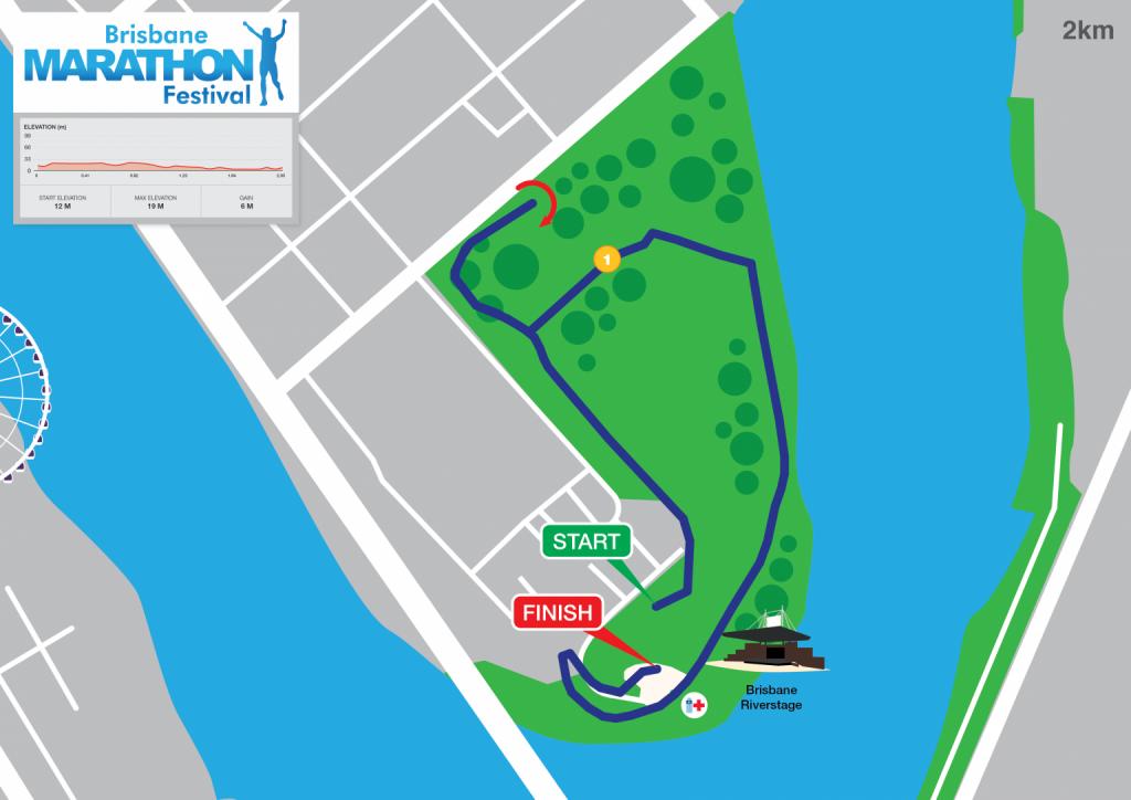 Course of the kids race, Brisbane Marathon Festival 2021