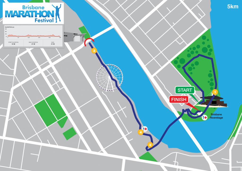 Course of the 5km race, Brisbane Marathon Festival 2021