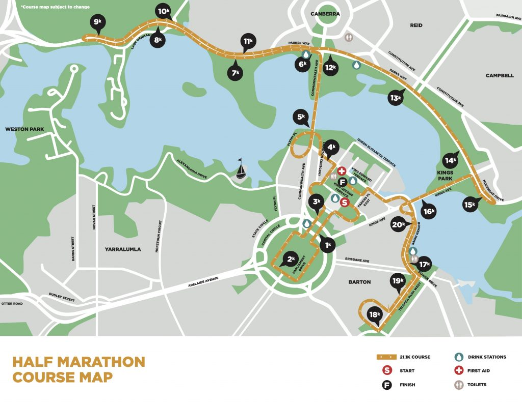 Course of the Canberra Half Marathon 2021