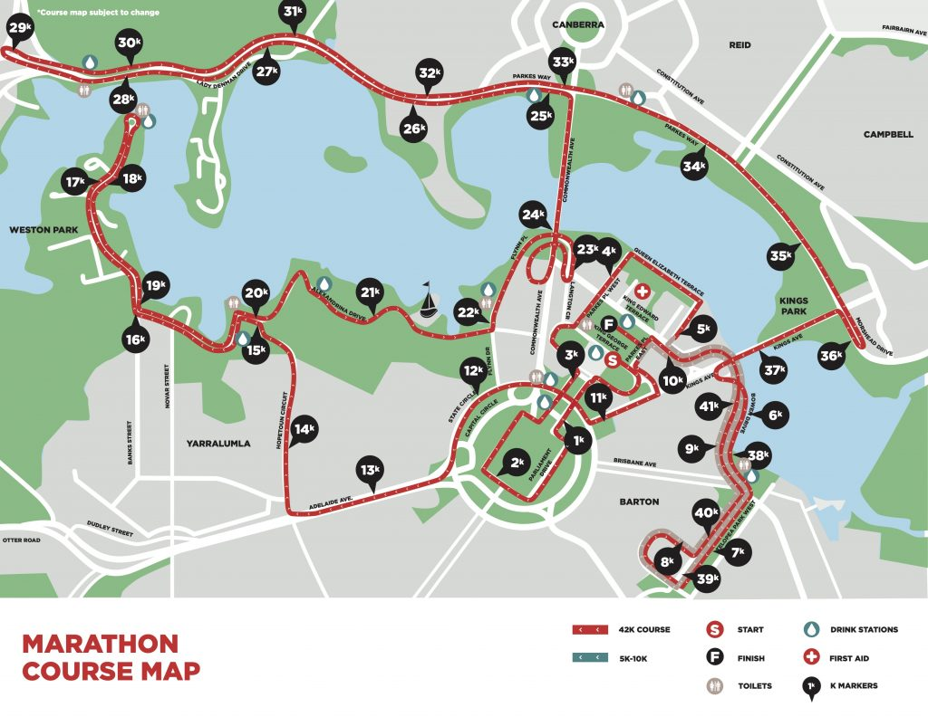 Course of the Canberra Marathon (The Canberra Times Marathon Festival) 2021