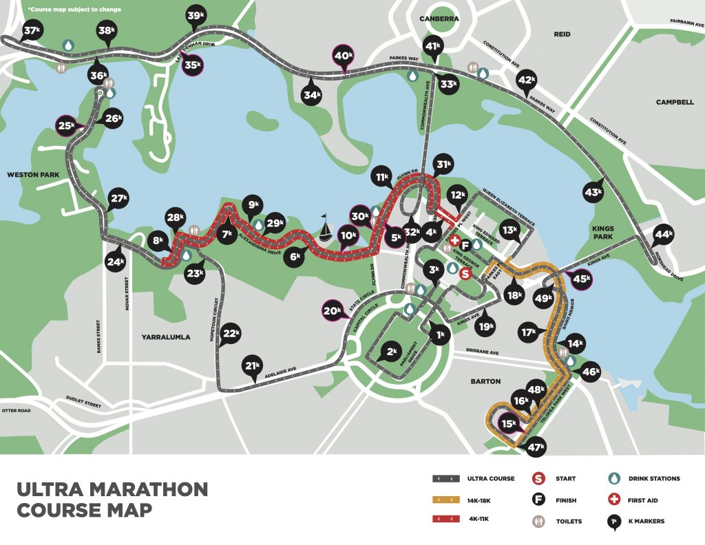Course of the Ultra Marathon, The Canberra Times Marathon Festival 2021