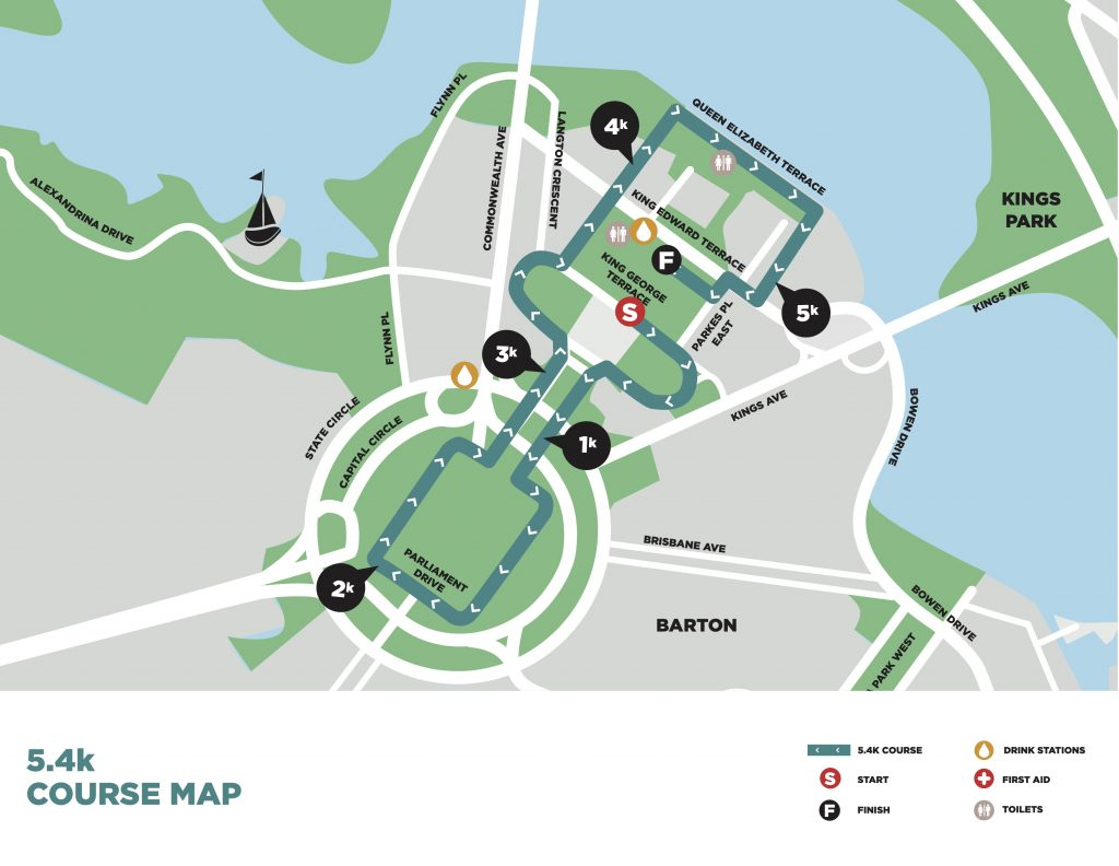 Course of the 5.4km race, The Canberra Times Marathon Festival 2021