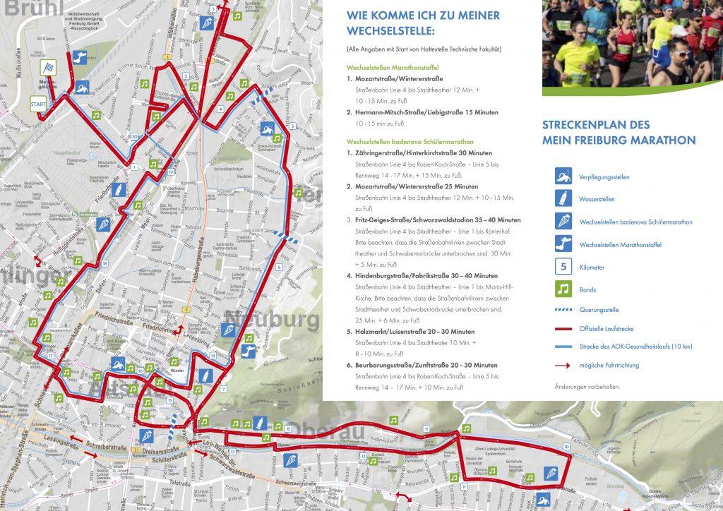 Course of the Freiburg Marathon (MEIN FREIBURG MARATHON) and Half Marathon 2020