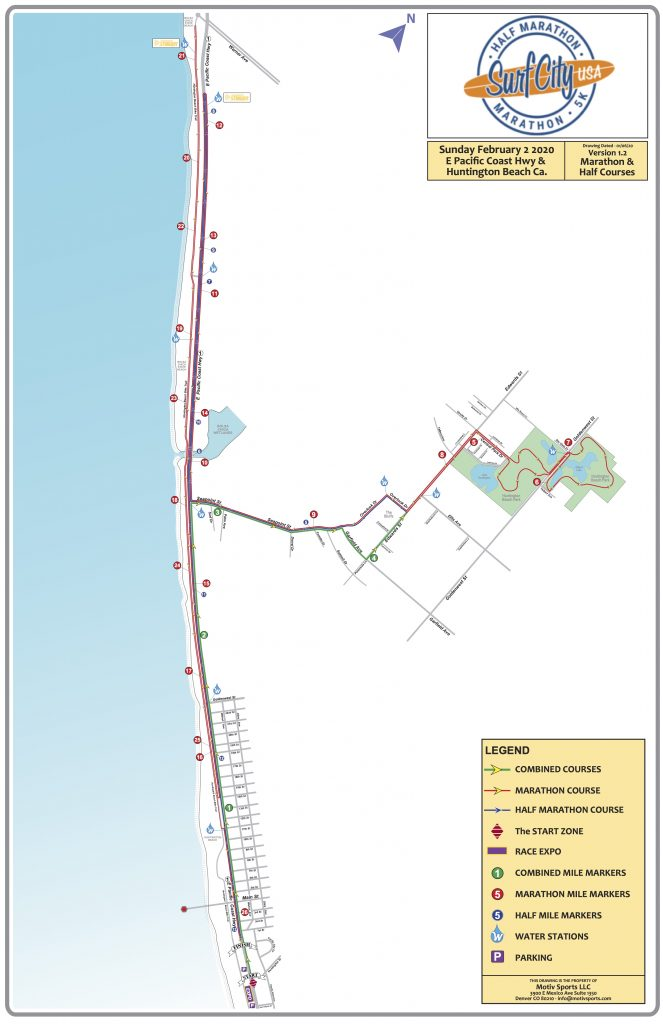 Course of the Surf City Marathon and Half Marathon 2020