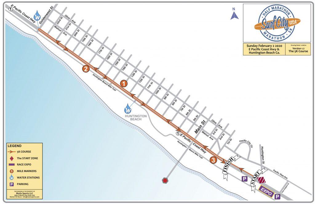 Course of the 5km Race, Surf City Marathon 2020