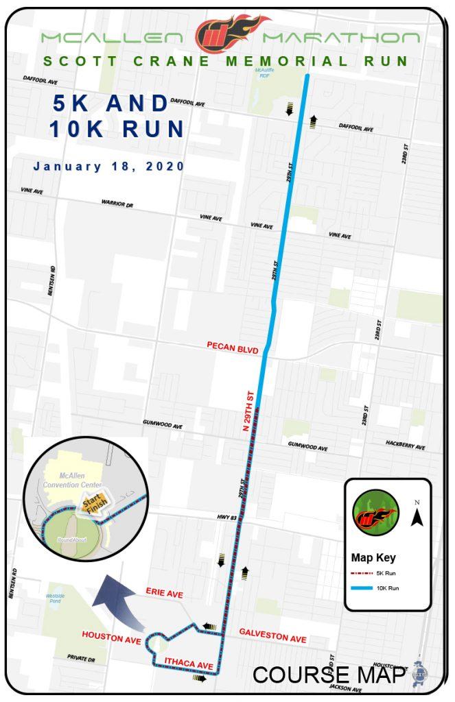 Course of the 10km race and 5km race, McAllen Marathon Scott Crane Memorial Run 2020