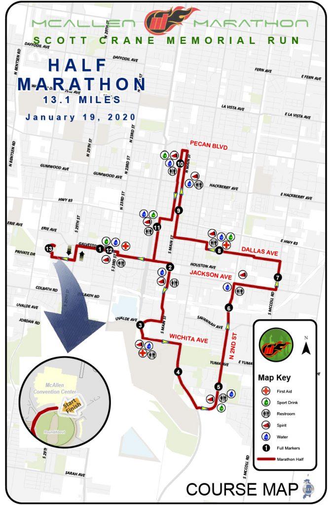 Course of the McAllen Half Marathon 2020