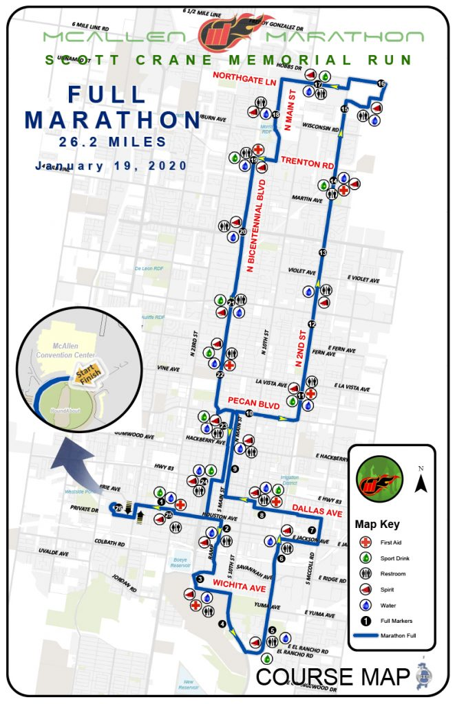 Course of the McAllen Marathon 2020