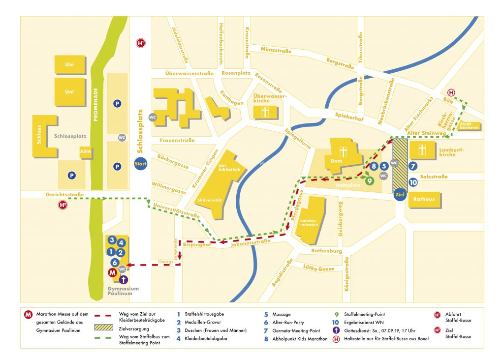 План зоны финиша Мюнстерского марафона (Volksbank-Münster-Marathon) 2021