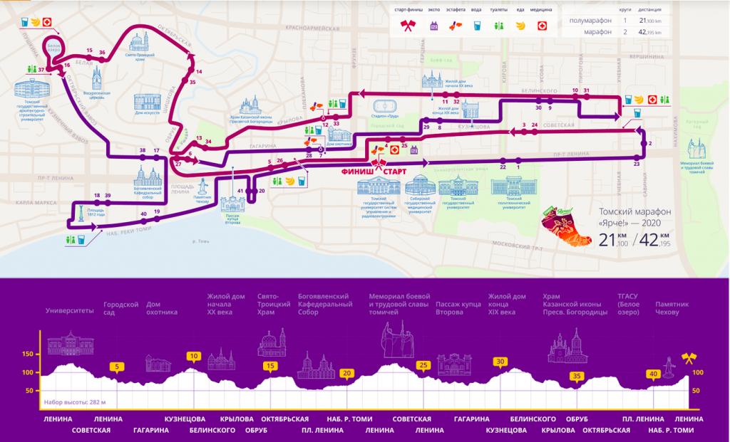 Трасса Томского марафона (Томский международный марафон «Ярче!») и полумарафона 2021 с профилем высот