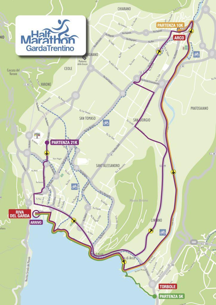 Трасса Трентинского полумарафона озера Гарда (Garda Trentino Half Marathon) 2021