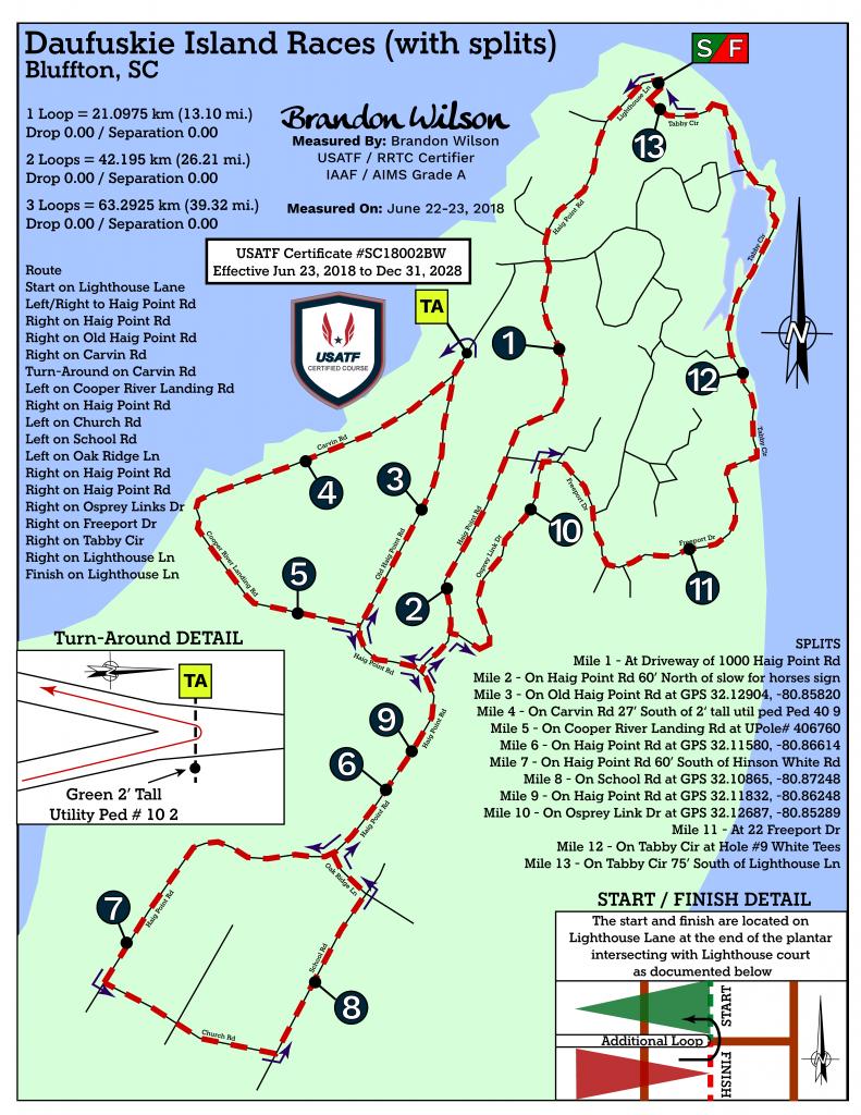 Course of the Fleet Feet Daufuskie Island Marathon 2021: 2 loops for the marathon, 1 loop for the half marathon