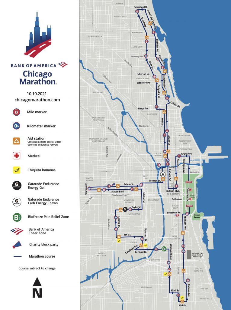 Course of the Chicago Marathon (Bank of America Chicago Marathon) 2021