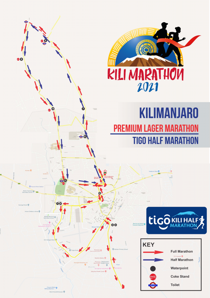 Course of the Kilimanjaro Premium Lager Marathon and Half Marathon (Tigo Kili Half Marathon) 2021