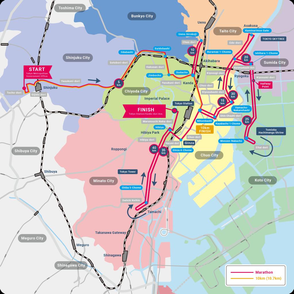 Трасса Токийского марафона (東京マラソン, Tokyo Marathon) 2021