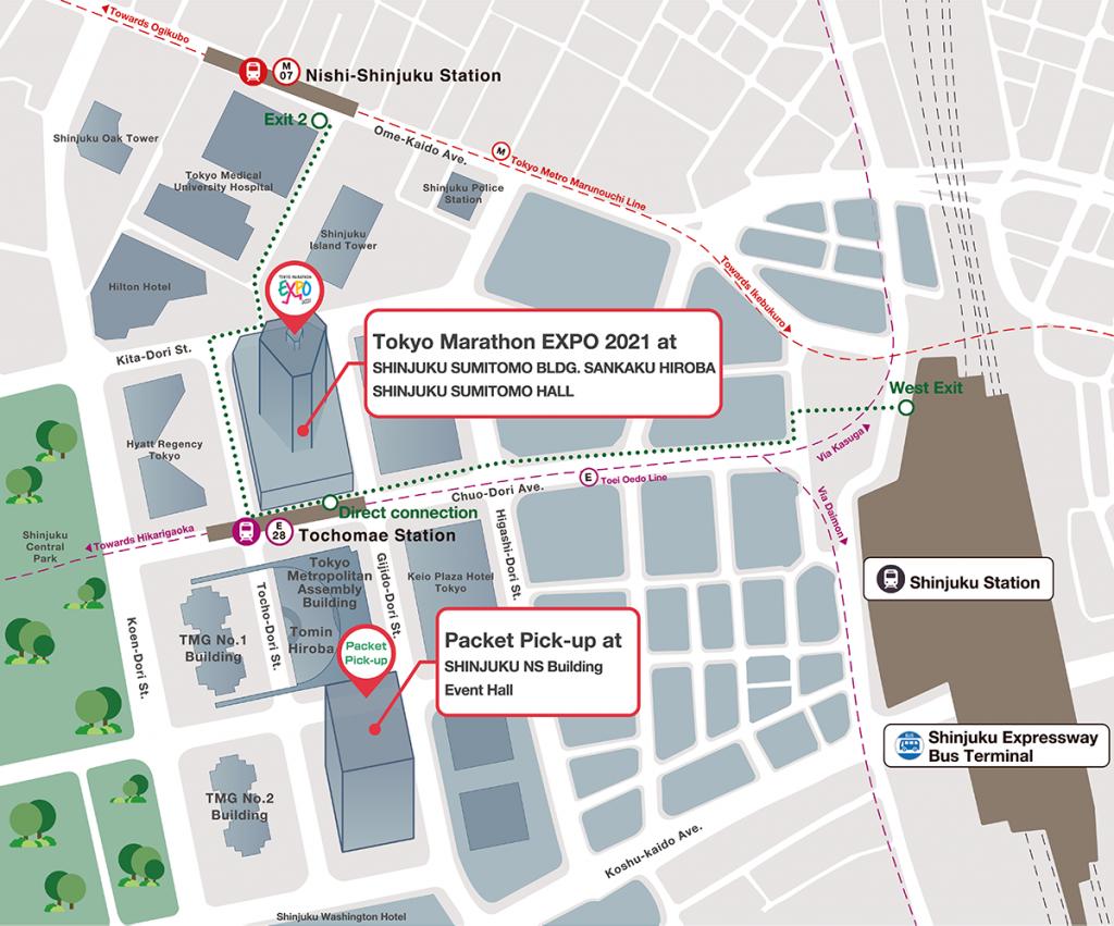 План выставки Токийского марафона (東京マラソン, Tokyo Marathon) 2021