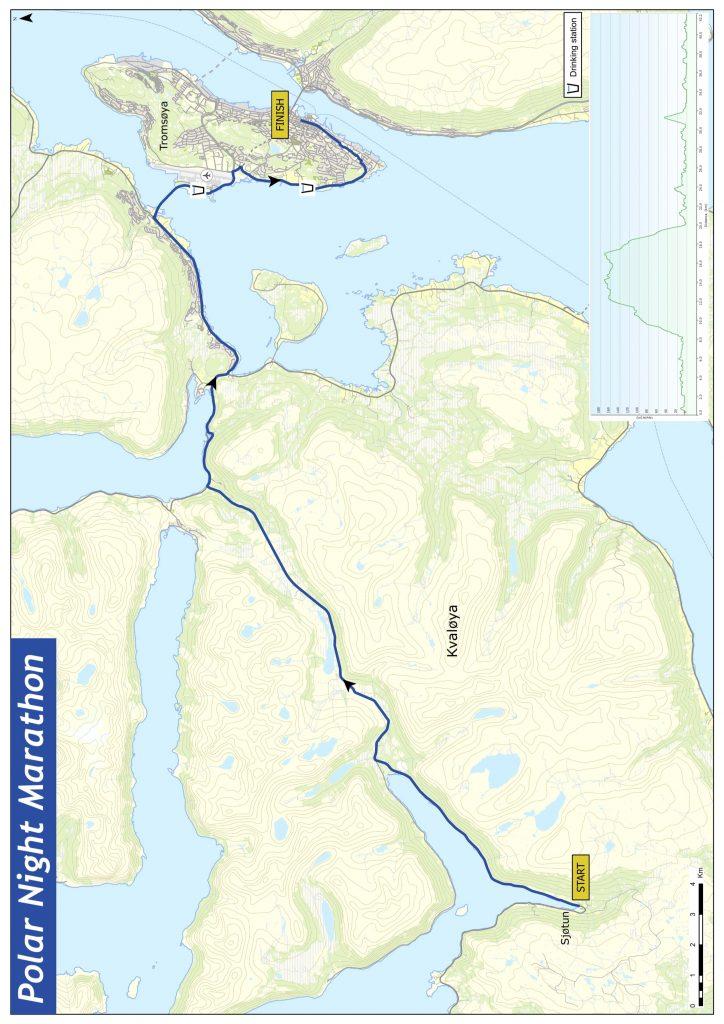 Трасса Тромсёйского марафона полярной ночи (Ishavskraft Marathon) 2022 с профилем высот